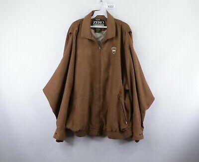 Zero Restriction Mens 2XL Microsuede Lined Zip Golfing Golf Bomber Jacket Brown Lined Microsuede Jacket