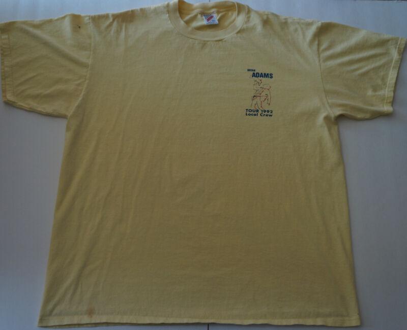 BRYAN ADAMS Rare 1992 Local Crew Concert Tour Yellow T-Shirt Very Hard To Find
