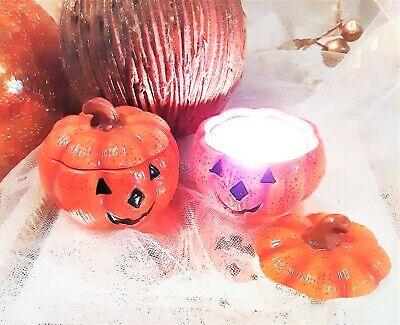 NEW! Set of 2 Halloween Jack O' Lantern Orange Pumpkin Votive Tealight Holder