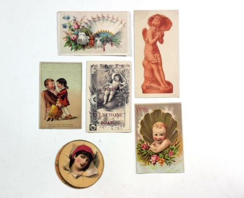 Vintage Soap Card Ads Lot of 6 Iowa Sapolio Celon Red Letter Soap & More