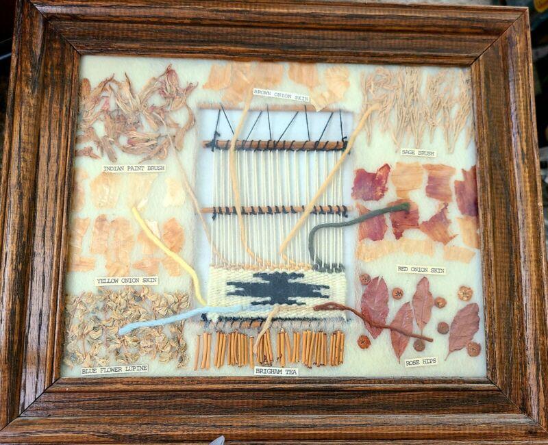 Vintage Framed Navajo Wool Natural Loom Textiles Dye Chart Native American