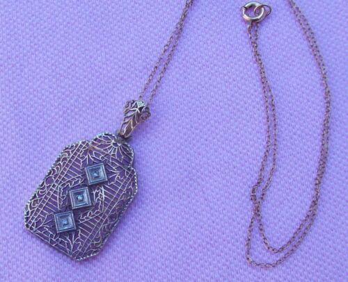 1 Vintage Antique Art Deco K Yellow Gold F Filigree Diamond Lavaliere Necklace
