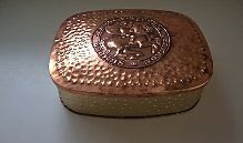 Verkade Vintage Collectible Biscuit Tin with Copper Embossed Lid