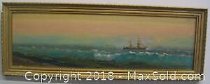 Antique Signed Oil On Board Sunset Seascape Painting