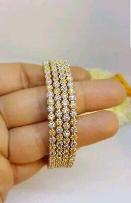 Indian Pakistani Gold Plated American Diamond AD 4 Bangles size 2.4