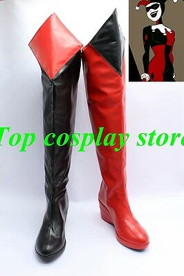 Batman  Arkham Asylum Harley Quinn Cosplay Shoes Boots Red + Black new come ver