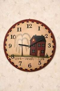 Primitive decor ~  LIVE LAUGH LOVE WALL CLOCK ~ country  ~ americana