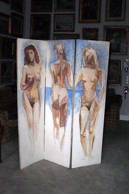 PEINADO Joaquim -  Valledo (1898-1975) Paravent, 3 teilig- span. Expressionismus