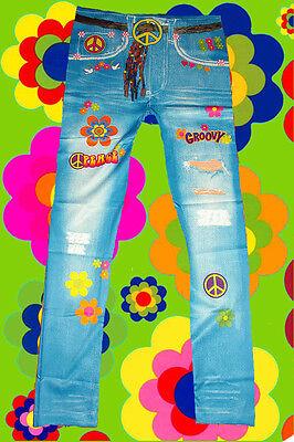 15 ✪ bunte 70er Jahre Hippie Blumenkinder Peace Hose Leggings Prilblumen onesize
