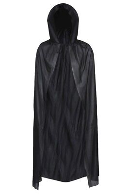 BLACK HOODED CAPE VAMPIRE CLOAK DRACULA HALLOWEEN FANCY DRESS COSTUME - Black Cloaks