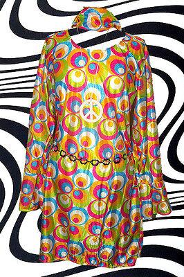 106✪ Psychedelic  Trompetenärmel Retro Kleid Kostüm Panton Ära 60er 70er Jahre