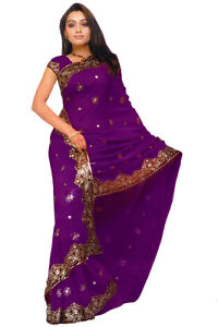 Purple Bridal Designer Heavy Sequin Bollywood Saree Sari Boho danse du ventre