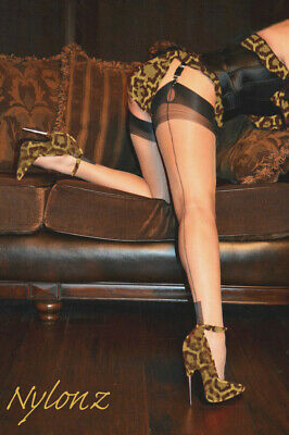 Eleganti Fully Fashioned Stockings NATURAL FULL BLACK CONTRAST Sz M imperfects