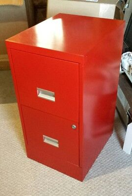 Cool Vintage Red Filing Cabinet- Metal With 2 Drawers
