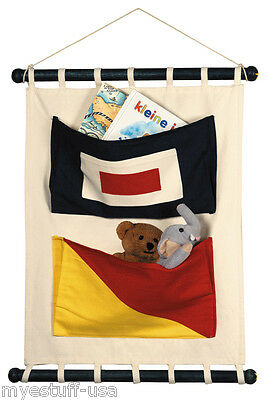 Authentic Models CC002 2 Pocket Canvas Toy Organizer Nautical Flag Wall Hanging](Nautical Toy Box)
