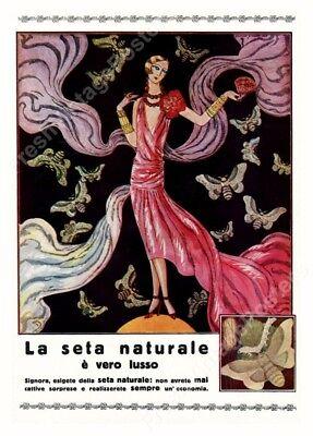 1930 flapper woman red dress silk moth vintage ad archival fine art print 24x35