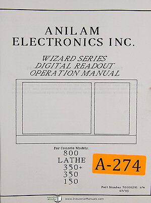 Anilam 800 150 350 Wizard Series Dro 117 Page Operations Manual Year 1993