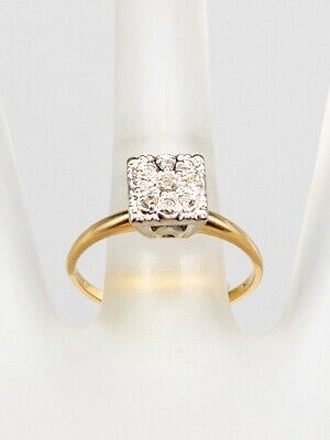 1940s Jewelry Styles and History Antique 1940s .15ct Diamond CLUSTER TOP 14k Yellow Gold Wedding Ring $195.00 AT vintagedancer.com