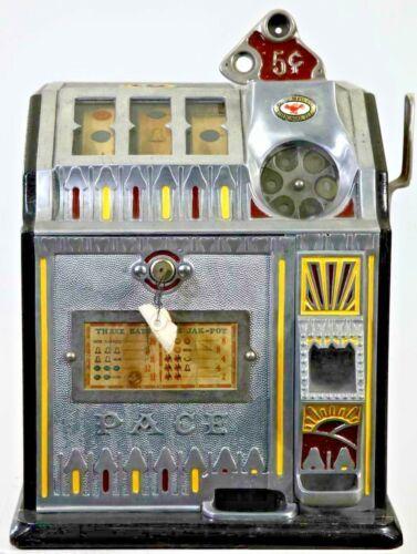 ORIGINAL 1930  5¢ Pace Bantam Antique Fancy Front Slot Machine. coin op