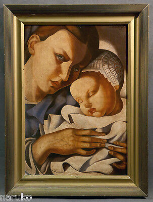 """MOTHER & CHILD OIL PAINTING OIL ON CANVAS  20"""" X 28.5"""" SIGNED TAMARA LEMPICKA"""