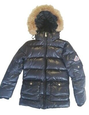 Pyrenex Black Down Jacket Shiny Girl with Synthetic Fur Authentic Size 10