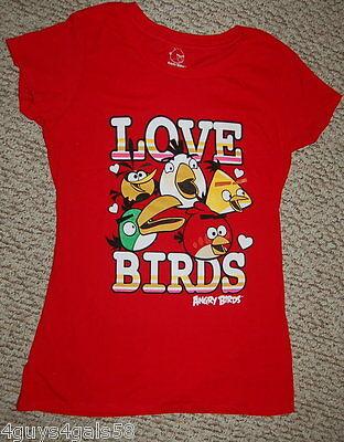 JR Womens Tee Shirt RED CAP SLEEVE Five Birds ANGRY BIRDS Love Birds M 7-9 Bird Womens Cap Sleeve T-shirt