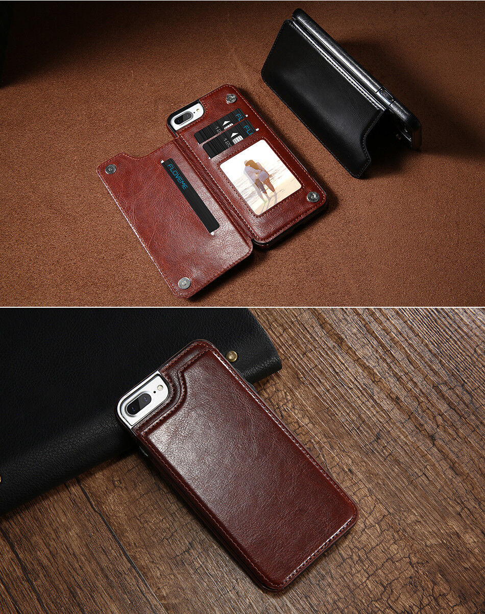 Luxury Flip Stand Leather Wallet Card Back Case For iPhoneX/8/7/6/6s/Plus