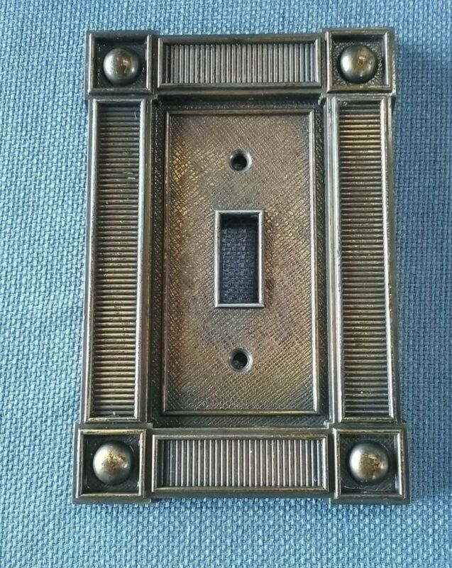 VTG Metal Brushed Brass Switchplate Cover Arts & Crafts Style