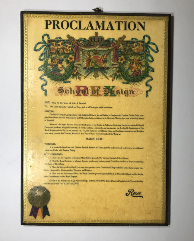Vintage 1973 New Orleans Rex Mardi Gras Proclamation Mounted