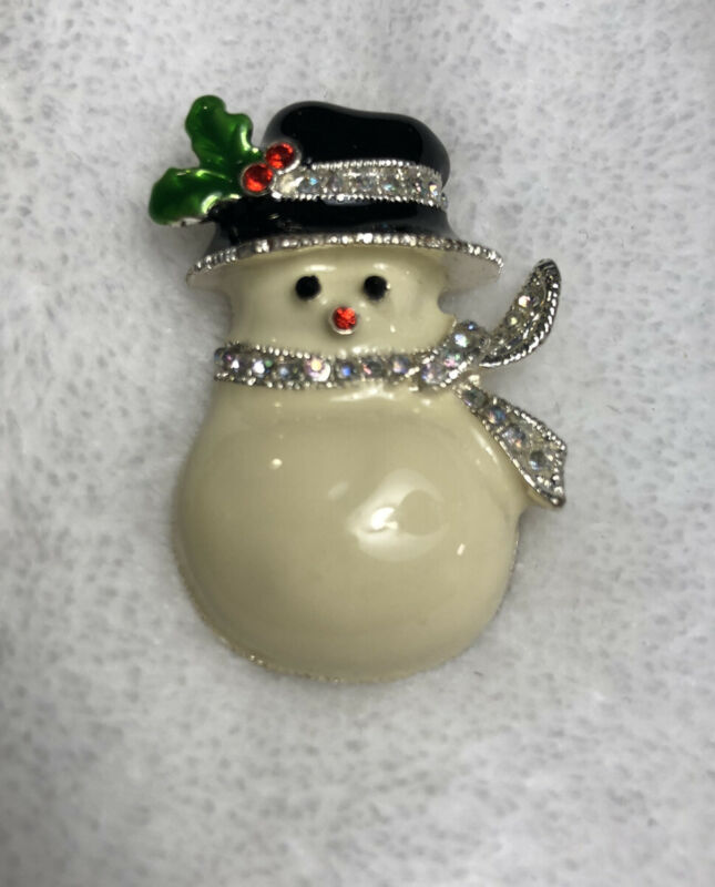 #824 Cute Snowman Pin, White Enamel and Rhinestones, Christmas Holiday Pin