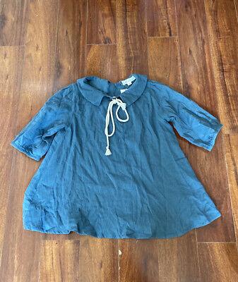 Belle Chiara Blouse Top 12 Nwt Blue Collard 3/4 Sleeves Robe Bow Girls