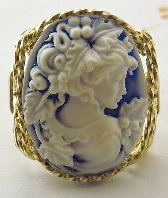 Grecian Goddess Grapes Cameo Ring 14k Rolled Gold