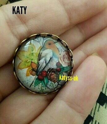 Vintage Style Red Bird Small  Brooch Pin Glass Cabochon Robin Redbreast Broach