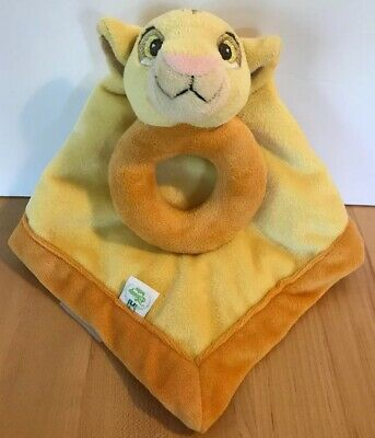Disney Baby Simba Lion King Yellow Orange Security Blanket Lovey Rattle Ring
