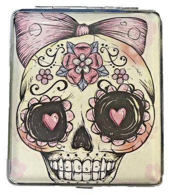 Eclipse Candy Skull Bow Leatherette Crushproof Metal Cigarette Case 100s - Bow Candy
