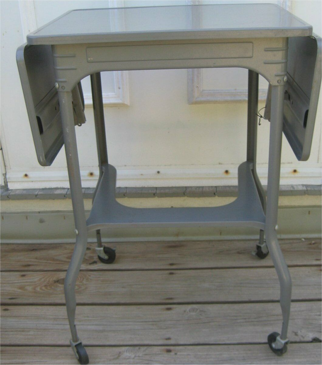 Vintage Table Industrial Metal Typewriter Table Stand Desk Rolling Drop Sides - $64.99