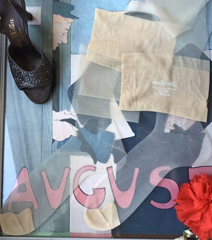 "vintage nylon stockings - Beauty Mist - seamless 15 den flat knit - 11/11.5 34"""