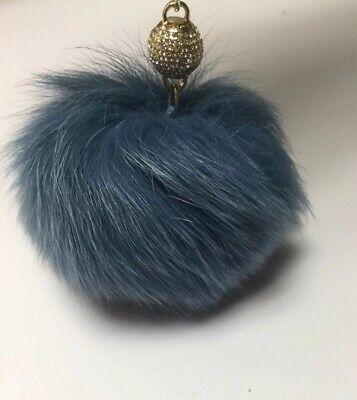 MICHAEL KORS DYED BLUE FOX FUR POM POM WITH CRYSTAL BALL BAG CHARM - Dyed Blue Fox Fur
