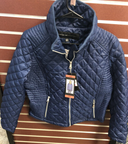new york winter diamond quilted jacket blue