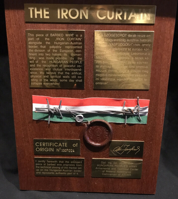 Large Wall Plaque: The Iron Curtain With Authentic Barbed Wire; Hungaro-Austrian
