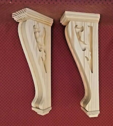 PAIR of Large Wood Corbels Mantel Shelf Support 6-3/4 x 19-7/8 x 4-1/4 (#7506)