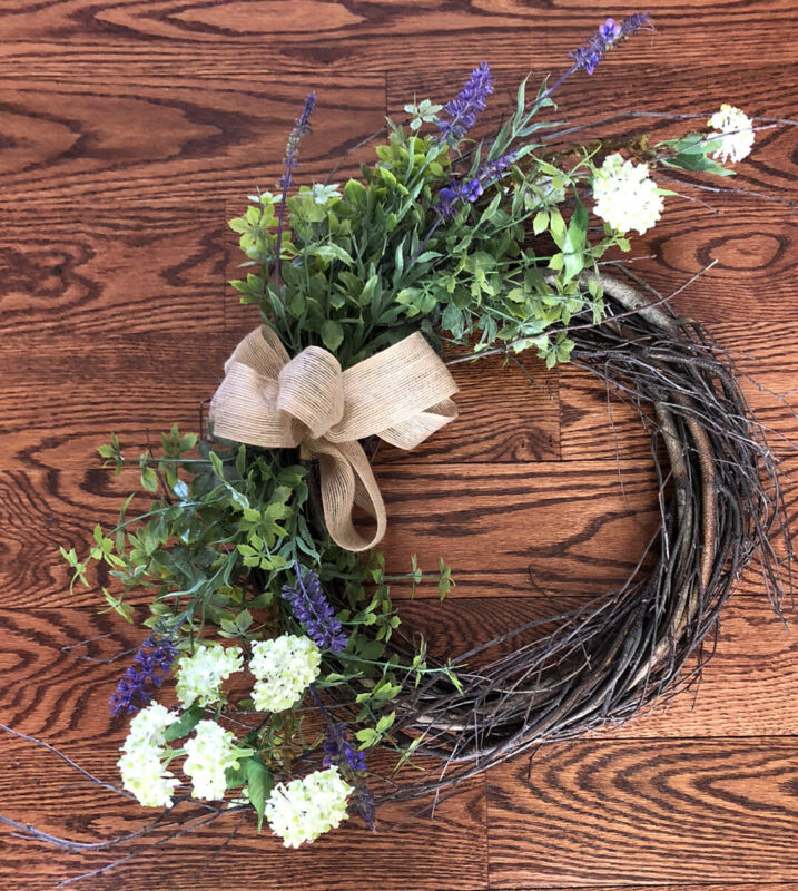 🌿Handmade Floral Spring grapevine wreath purple white greenery burlap bow NEW🌿