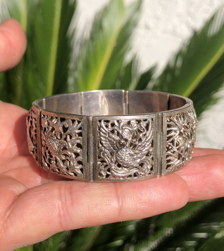 Antique Chinese Silver Filigree Floral Dragon Gods Bamboo Panel Link Bracelet