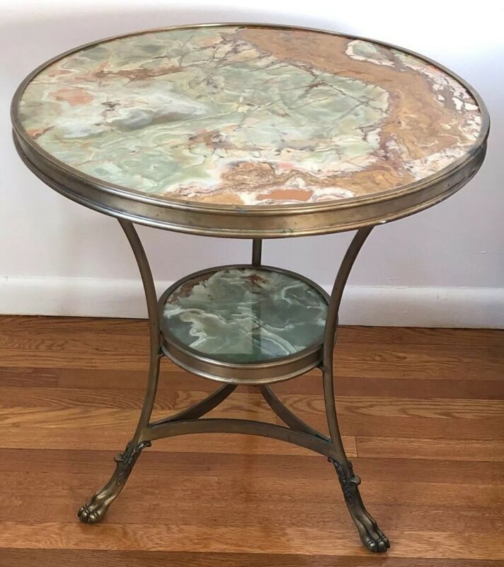 Onyx & Bronze Gueridon Table Antique French Style Claw Feet Natural Green Stone