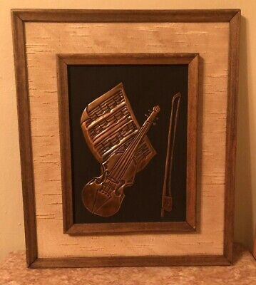Framed Violin Artwork Don Foltz Hand Tooled Copper Wall Hanging Music Themed Art