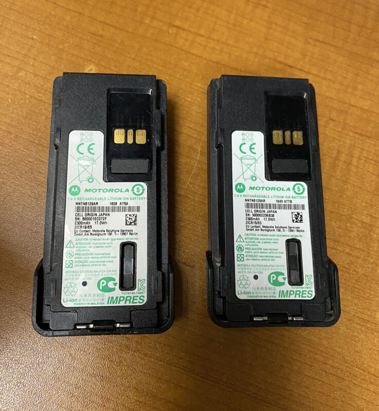 LOT OF 2x MOTOROLA NNTN8129AR Battery - Lithium Ion 2300mah For Xpr7350/7550