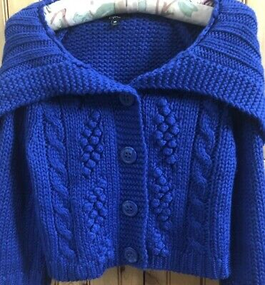EXPRESS MALL STORE WOMEN/ JUNIOR CROPPED HEAVY BLUE CARDIGAN SIZE MEDIUM  EUC!!