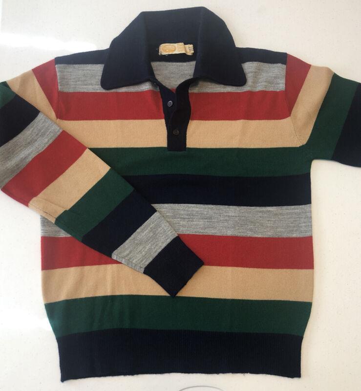 Vtg 70s Men's Pebble Beach Sportswear Pullover Button Up Sweater Striped Acrylic