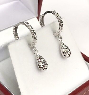 18k Solid White Gold Cute Tear Drop Dangle Hoop Earrings, Diamond Cut 1.25 (18k Diamond Cut Hoop Earrings)