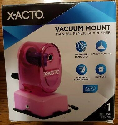 Manual Pencil Sharpener X Acto Vacuum Mount Pink New In Box For Standard Pencils